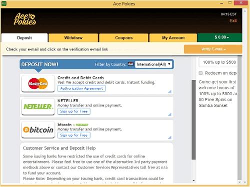 Ace Pokies Banking