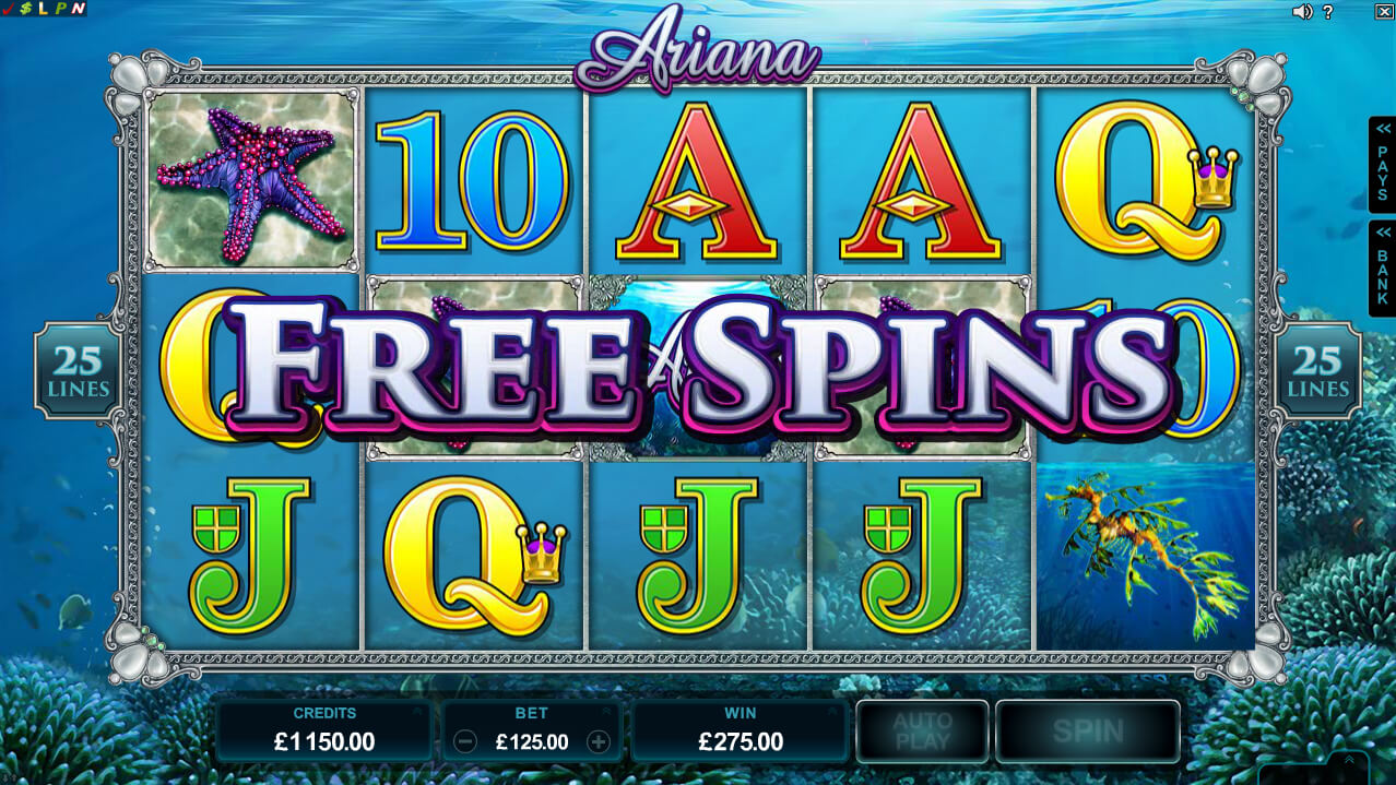 Ariana Free Spins Screenshot