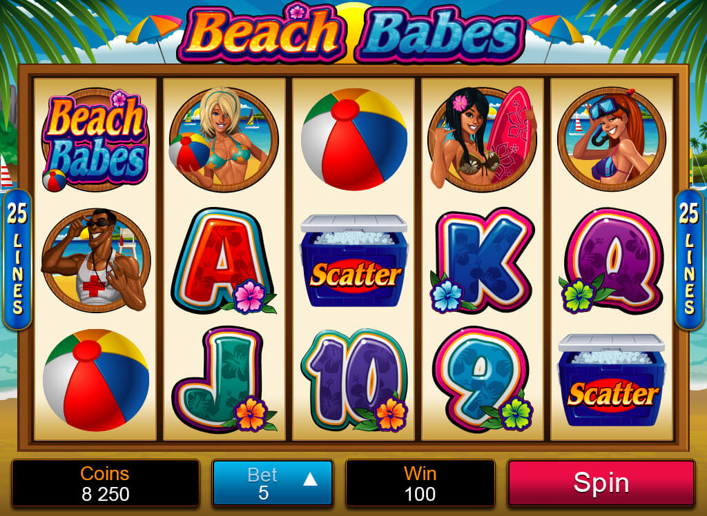 Beach Babes mobile pokies base game