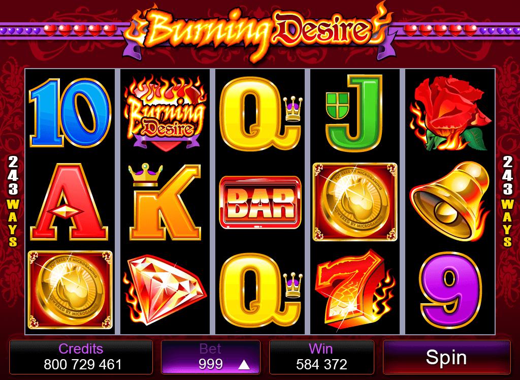 Burning Desire mobile pokies base game