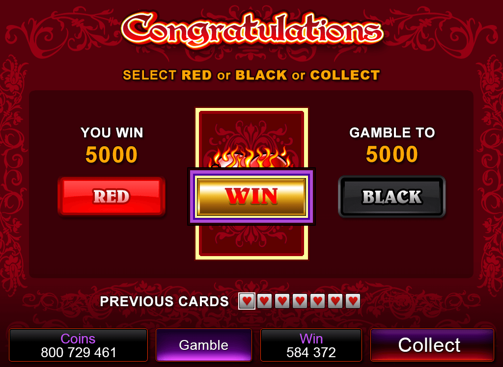 Burning Desire gamble feature