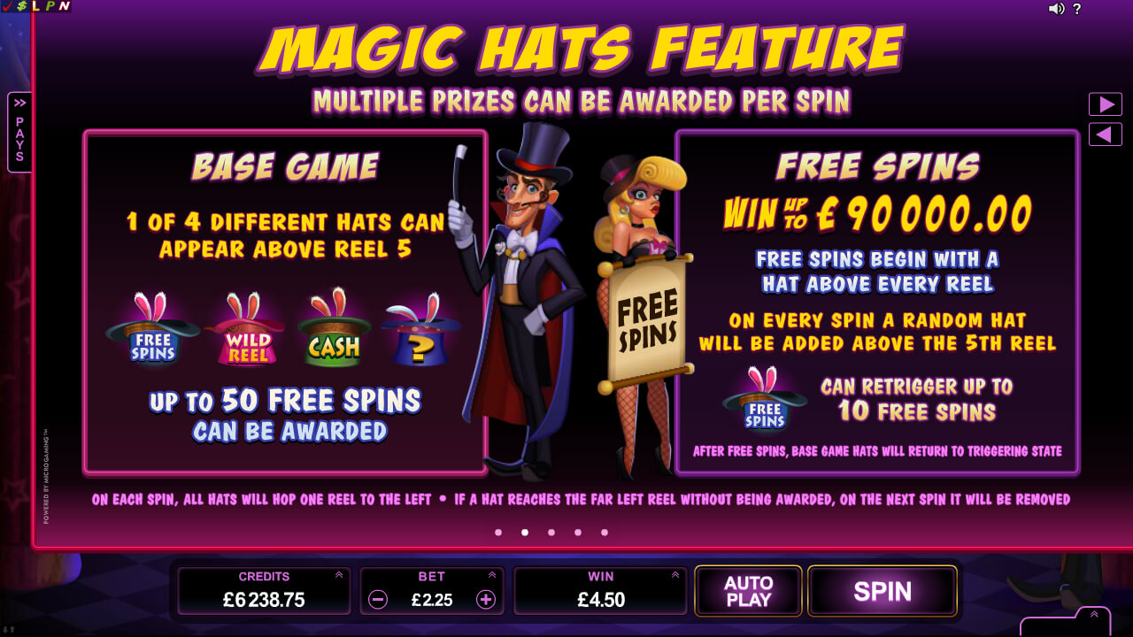 Rabbit in the Hat online video pokies - magic hats features