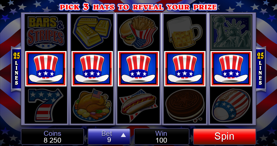 Bars & Stripes Pokies Bonus Game