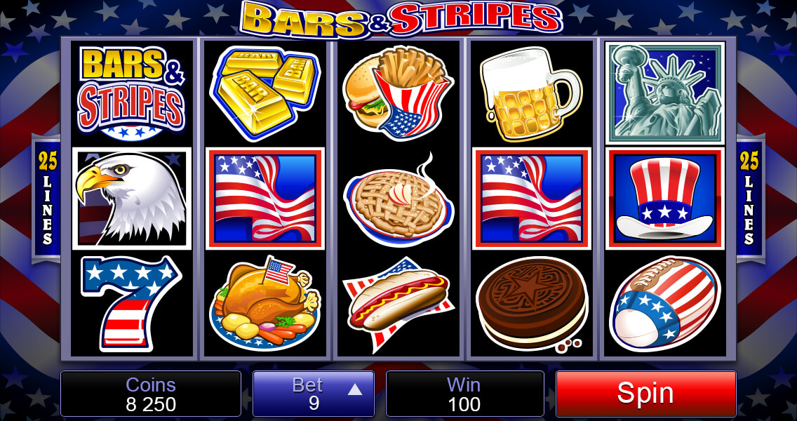 Bars and Stripes Mobile Pokies Base Game