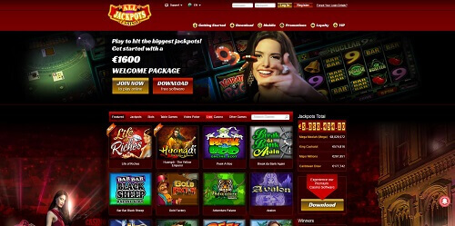 All Jackpots Online Casino Homepage