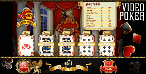 video poker paytable