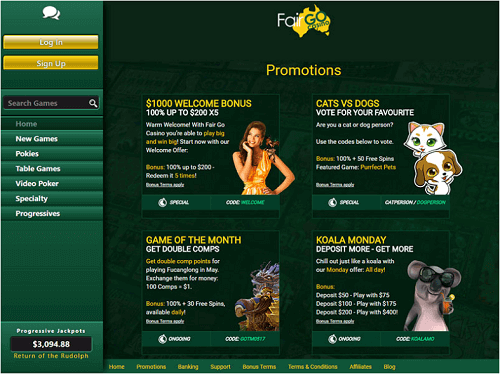 Promotions at Fair Go Casino - Receive up to $1000 for just signing up