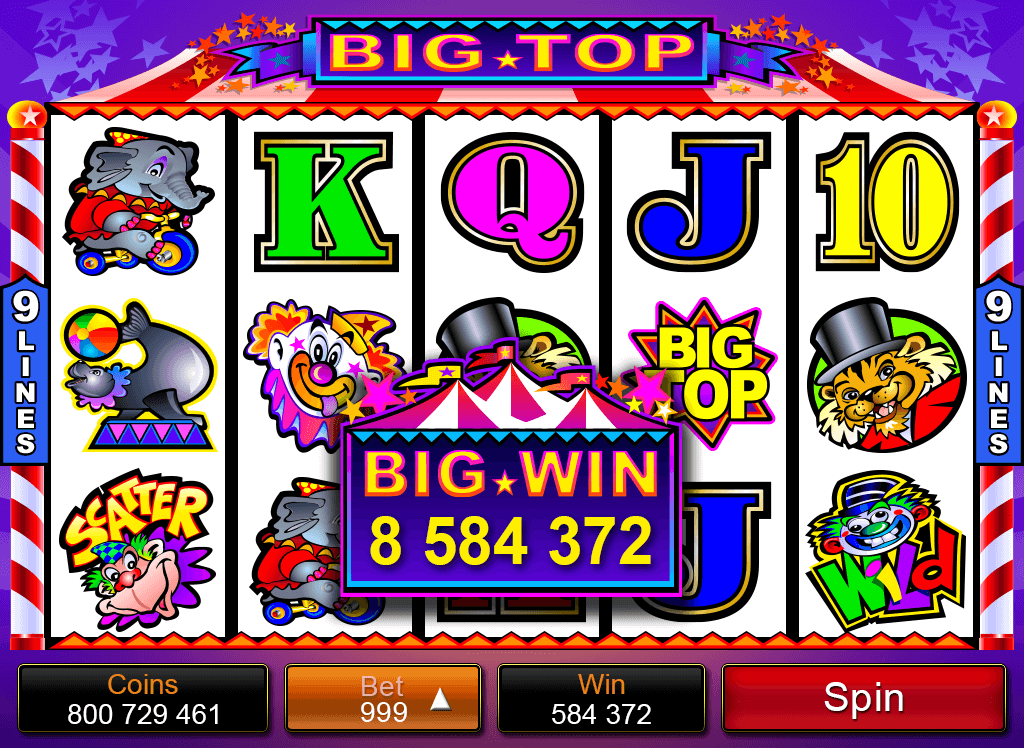 Big Top Mobile Pokies graphics