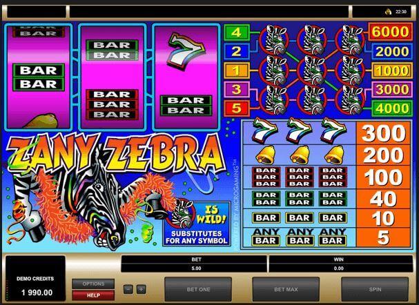Zany Zebra Online Pokie